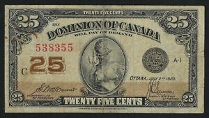 Dominion of Canada 25 Cents Shinplaster 1923 (McCavour/Saunders)