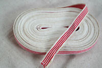 "10 yard 5/8"" wide french cotton ticking red white striped knit ribbon or trim"