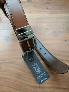 Mens New M&S Reversible Pull & Twist Brown Leather Belt