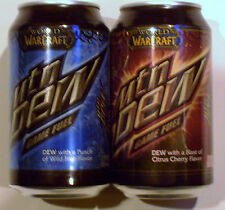 2 Pc World of Warcraft Mountain Mtn Dew Game Fuel Soda Pop Can Set,Empty,Pinhole