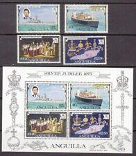 1977 Anguilla Queen Elizabeth 11 Silver Jubilee set of 4 mint stamps & mint mini