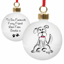 Personalised DOG Name Message Christmas Bauble Animal Lover DOG Gift