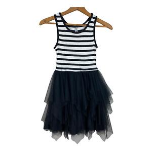 Beautees Dress 10 Girls Stripe Tulle Layered A-Line Skirt Black White Sleeveless