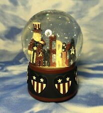 "Target ""America"" Patriotic Uncle Sam Snow Water Globe Figurine Flag Hearts Euc"