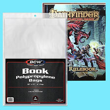 "25 BCW 10x13 POLY 2 MIL BOOK BAGS + 2"" FLAP New Storage Sleeve RPG Game Cover"
