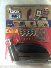 Insta Hang 47 Piece Set Secure Picture Hanger Kit Gun Tool Hooks As Seen On Tv