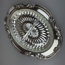 Vintage Atlanta Plate by Paramount Silver Plate Serving Tray & Glass Liner