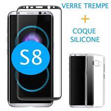 Film verre trempé NOIR intégral incurvé samsung galaxy S8  + Coque Silicone