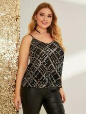 NEW.Elegant Plus Size Black Cami Singlet Top with Sequin Mesh Overlay..3XL/SZ18