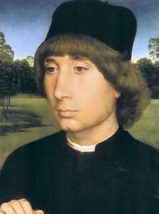 Oil painting hans memling - portrait of a young man befor a landscape on canvas
