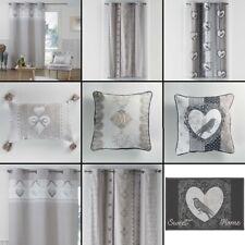 Vintage Romantic Hearts 100% Cotton Eyelet Curtain Panel /Cushion - Natural Grey