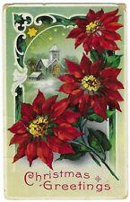 "Vintage Postcard ""Christmas Greetings"", Gelatin Coated, Posted 1912"