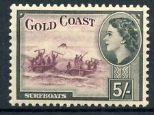 """1954 Gold Coast MNH OG 5 shillings high value mint stamp """"Surfboats"""" Sc. 158"""