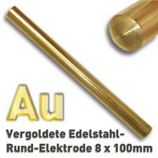 Edelstahl Elektrode vergoldet, Elektrolyse Ø 8 x 100 mm Goldelektrode Anode Gold