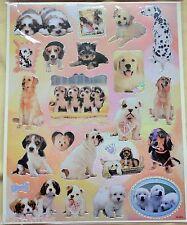 Foglio con adesivi fotografici di cuccioli,nuovo,con bordi argento