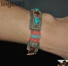 Tibet Tibetan silver Inlay turquoise Red Coral gem exquisite Hand chain Bracelet