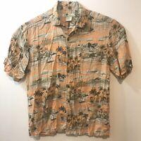 Vintage Joe Marlin Hawaiian Shirt Apricot Color Aloha Island Theme Size XL