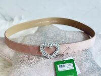 """NWT Kate Spade Velvet Heart Belt Pink with Pave Buckle Sparkle Size S/M 35"""" Long"""