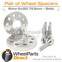 Wheel Spacers (2) & Bolts 15mm for BMW 5 Series [E60] 03-10 On Original Wheels