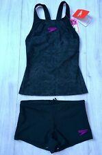 SPEEDO LADIES BLACK TANKINI SHORTS SWIMMING COSTUME SWIMSUIT SIZE 6 NEW