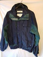 Columbia Mens M Ski Coat Zippered Nylon Waterproof Blue Green Medium