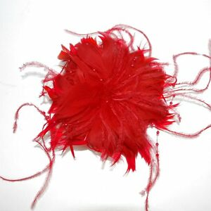 Fascinator Federn Blume Perlen ROT Haarclip Brosche Haarschmuck Ansteckblume NEU