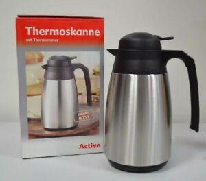 Isolierkanne mit Thermometer, Edelstahl, 0,75 Liter, Kaffeekanne schwarz Neu33
