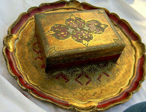 Vintage Wood Tray Box Florentine Italy Red Lotta' Gold