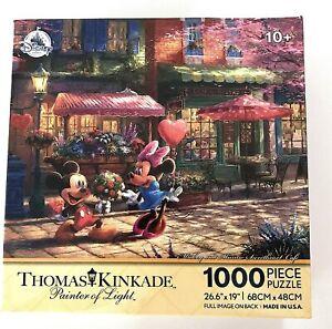 New Disney Parks Thomas Kinkade Mickey Minnie Sweetheart Cafe 1000 pc Puzzle