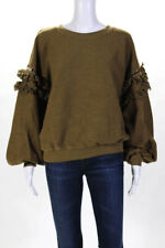 Ulla Johnson Womens Cotton Crew Neck Balloon Sleeve Sweater Green Size Large