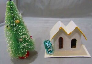 VINTAGE CHRISTMAS MICA PUTZ HOUSE WITH SPONGE TREE AND BOTTLE BRUSH TREE JAPAN