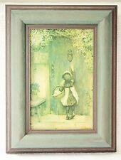 Arthur Hopkins 1848-1930 The Visitor Mädchen An Tür  Kunstdruck Holzrahmen Grün