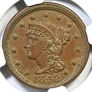 1848 N-23 R-3 NGC MS 65 BN Braided Hair Large Cent Coin 1c