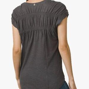 prAna Size LARGE Constellation Organic Cotton/Hemp Shirt Top Charcoal