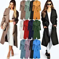 New Ladies Womens Long Coat Trench Duster Collar Belt Jacket Lush Wrap Plus 8-24