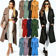 New Ladies Womens Long Coat Trench Duster Collar Belt Jacket Lush Wrap Plus 8-24