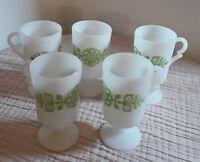 Set of 5 White Milk Glass Irish Coffee Mugs with Avocado Green Flowers ,Vintage