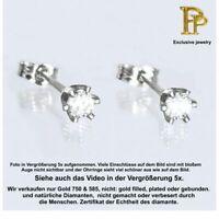 Echte Diamanten 0.08ct Ohrringe, ein Paar, Ohrstecker 14K 585 er Weißgold