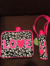 "JUSTICE ""LOVE"" LUNCHBOX AND MATCHING WATERBOTTLE SET PINK & CHEETAH/ZEBRA  CUTE!"