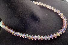 Vintage Pink AB Crystal Glass Saucer Shaped Beads Necklace Slide Clasp Gold Tone