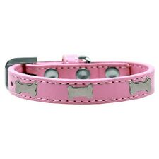 Mirage Pet Products Silver Bones Widget Leather Dog Collar — Pick Size/Color
