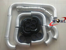 "3"" 12pcs Aluminum Universal Intercooler Turbo Piping + Black hose + T-Clamp kits"