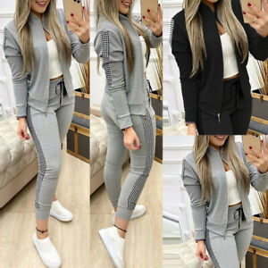 2PCS Women Tracksuit Zip Up Jacket Pants Jogging Sport Casual Lounge Wear Set