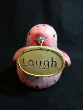 "Bird Figurine Live LAUGH Love Pink 5"" Distressed Oval Shaped Sign"
