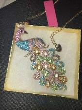 Betsey Johnson Necklace PEACOCK Rainbow Colors Gold Crystals Gift Box & Bag