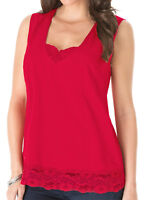 Plus Size Red Sleeveless Lace Trim Vest Top By Denim 24/7 Sizes 24-32