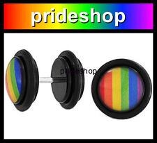 Rainbow Illusion Stud Plug Round Earrings Lesbian Gay Pride Earing #731