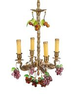 Antique Petite French Figural Swan Crystal Beaded Fruit Glass Grape Chandelier