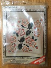 Vintage VOGART CRAFTS  Apple Blossoms Floral Crewel Embroidery Pillow Kit