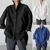ZANZEA Damen Baumwolle Knopf Hemd Langarm Shirt Bluse Business Freizeit Shirts
